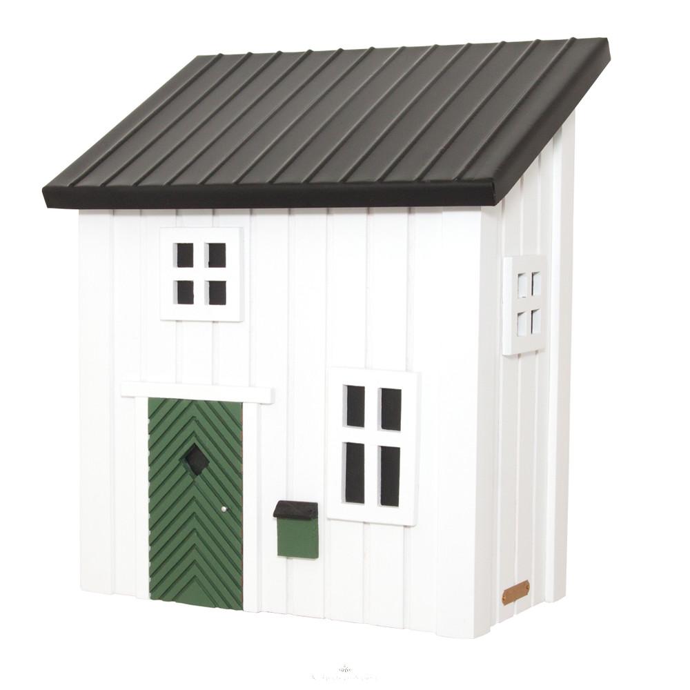 kleines schwedenhaus briefkasten postkasten aus holz in wei sc. Black Bedroom Furniture Sets. Home Design Ideas