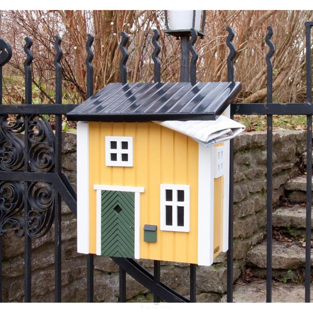 kleines schwedenhaus briefkasten postkasten holz gelb schwedenkate la. Black Bedroom Furniture Sets. Home Design Ideas
