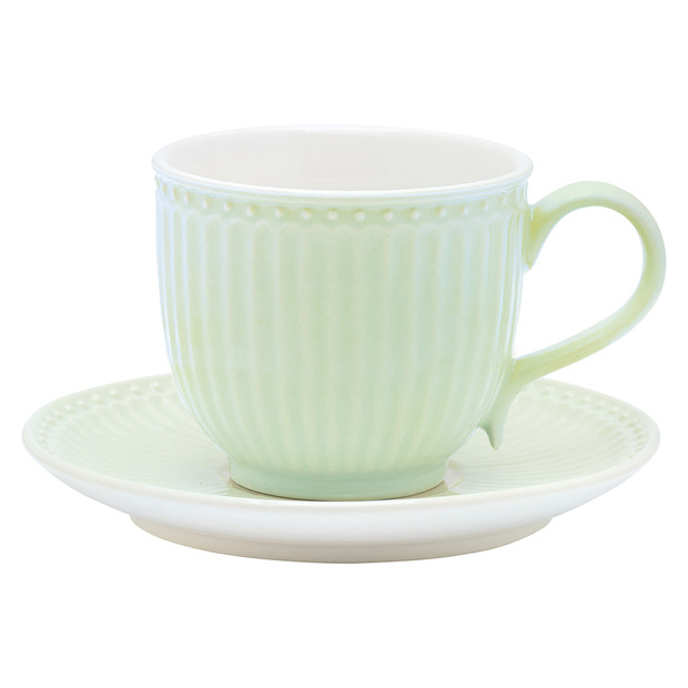 Greengate Alice green cup & saucer