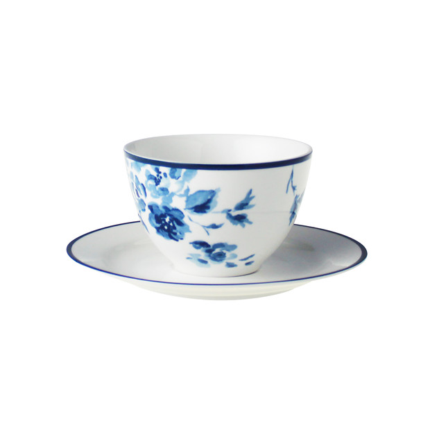 Laura Ashley Cappuccino Tasse & Untertasse blue rose